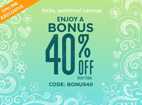 Disney Store Bonus 40% Off With Code BONUS40