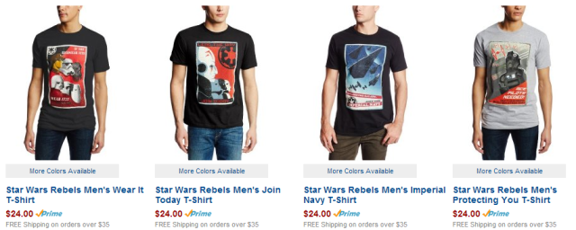 Star Wars Rebels Imperial Navy Propaganda T-shirts from Amazon