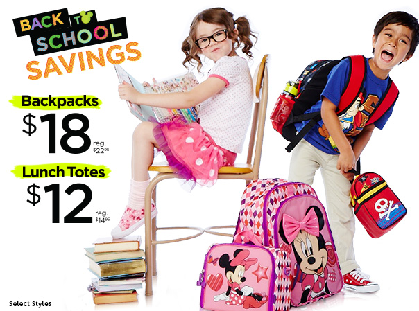 Back to School Savings on Backpacks and Lunch Totes at the Disney Store