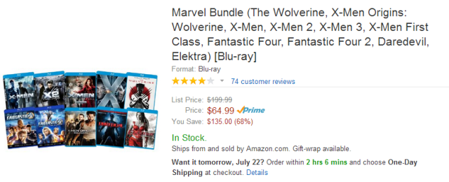 Marvel Blu-ray Bundle Sale Wolverine X-Men Fantastic Four Daredevil Elektra