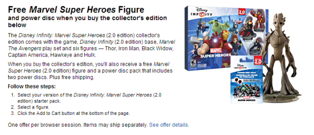 Disney Infinity 2.0 Marvel Superheroes Collector's Edition Free Figure Playset Power Disc Best Buy Deal Info